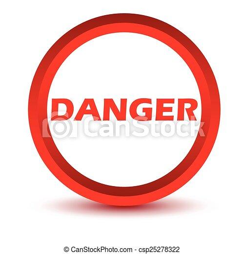 Un icono peligroso rojo - csp25278322