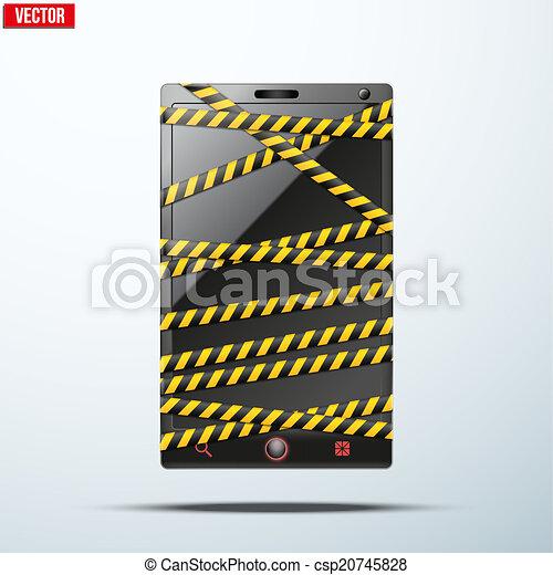 Smartphone, teléfono móvil, cinta de peligro. - csp20745828