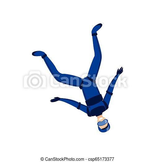 Skydiver participó en un deporte peligroso saltando en el cielo con un paracaídas. Un deporte extremo. - csp65173377