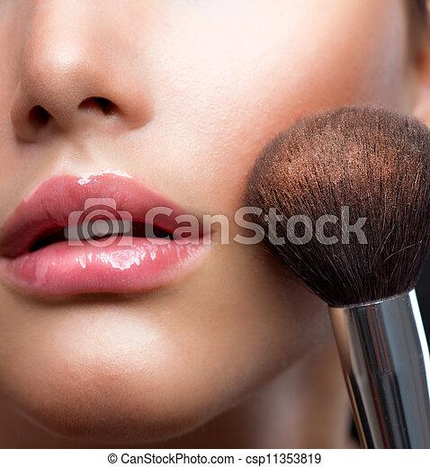pelle perfetta, cosmetico, polvere, trucco, brush., closeup. - csp11353819