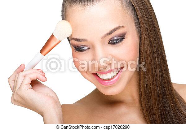 pelle perfetta, modello, trucco - csp17020290