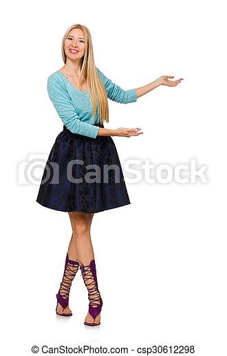 Chica rubia con falda azul oscura aislada en blanco - csp30612298