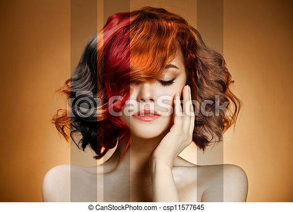 pelo, concepto, colorido, portrait., belleza - csp11577645