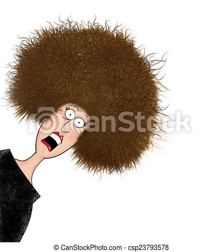 Una mujer con el pelo electrificado - csp23793578