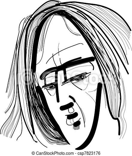 Hombre pelo largo dibujo