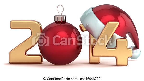 pelota, año, nuevo, 2014, navidad, feliz - csp16646730