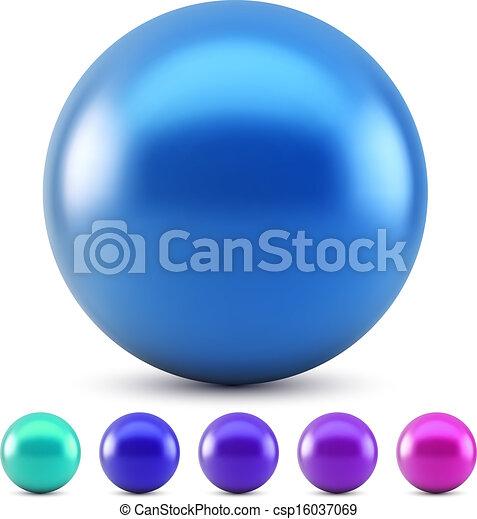 Ilustración de vectores de bola azul aislada en fondo blanco con muestras de colores fríos. - csp16037069