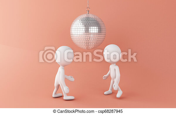 3D de los blancos bailando con la discoteca - csp68287945