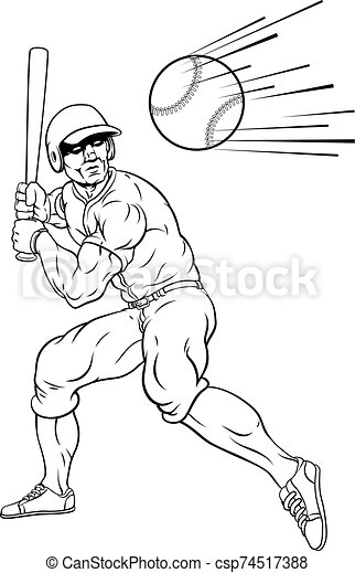 pelota, beisball, balanceo, corra, jugador, murciélago, hogar - csp74517388