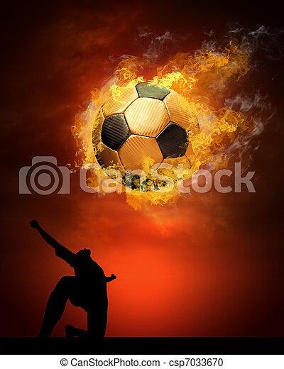 Bola de fútbol caliente a la velocidad en llamas - csp7033670