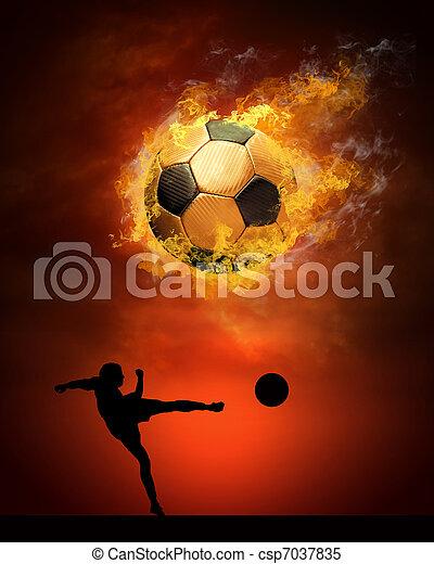 Bola de fútbol caliente a la velocidad en llamas - csp7037835