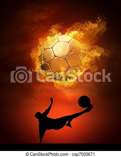 Bola de fútbol caliente a la velocidad en llamas - csp7033671