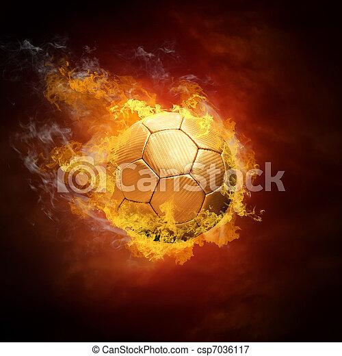 Bola de fútbol caliente a la velocidad en llamas - csp7036117