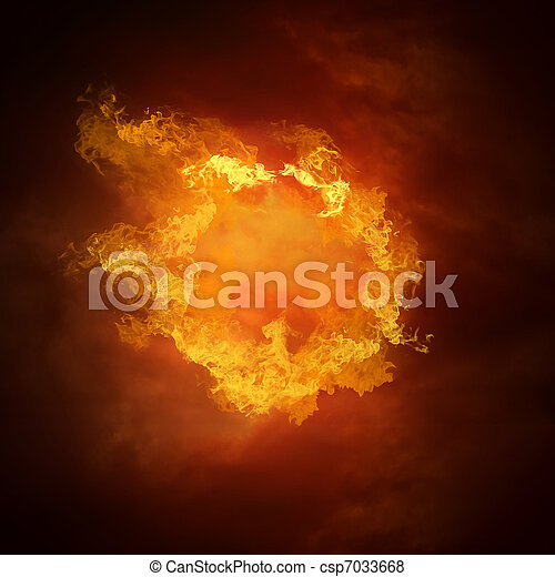 Bola de fútbol caliente a la velocidad en llamas - csp7033668