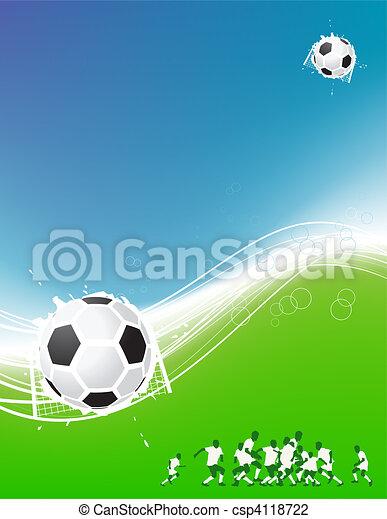 Un fondo de fútbol para tu diseño. Jugadores en el campo, pelota de fútbol - csp4118722