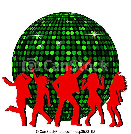 Bola de disco y gente bailando - csp3523192