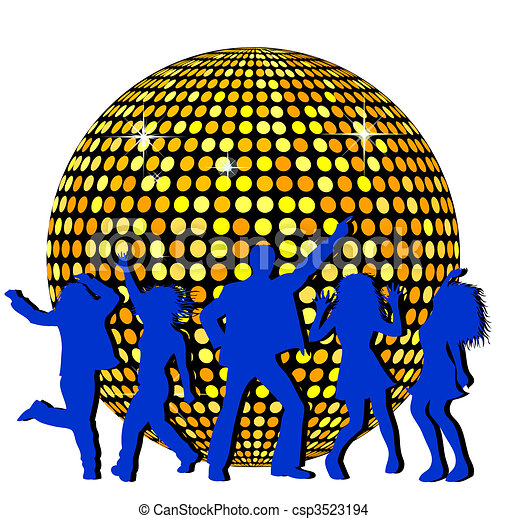Bola de disco y gente bailando - csp3523194