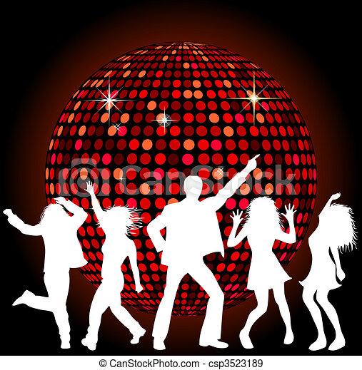 Bola de disco y gente bailando - csp3523189
