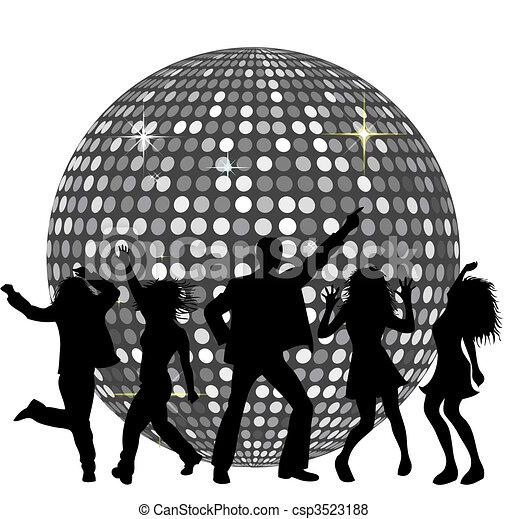 Bola de disco y gente bailando - csp3523188