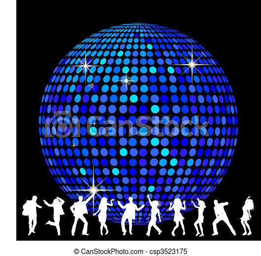 Bola de disco y gente bailando - csp3523175