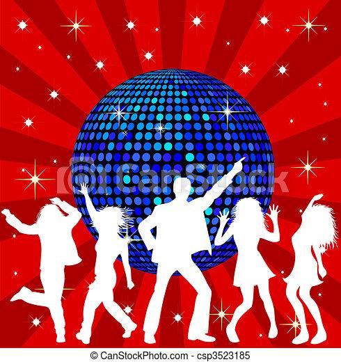 Bola de disco y gente bailando - csp3523185