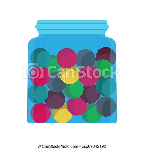 Un dulce vaso de jarro de dulce postre icono vector de comida. Tienda de caricaturas de caramelos de chocolate. Bola colorante de goma - csp69042192