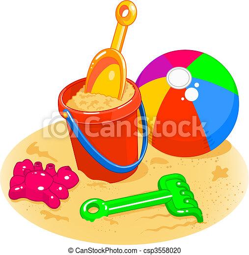Juguetes de la playa. Palo, pala, pelota - csp3558020