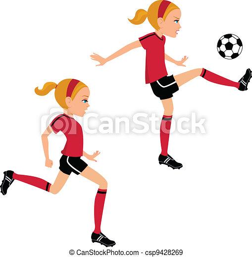La chica del fútbol pateando pelota en dos poses - csp9428269