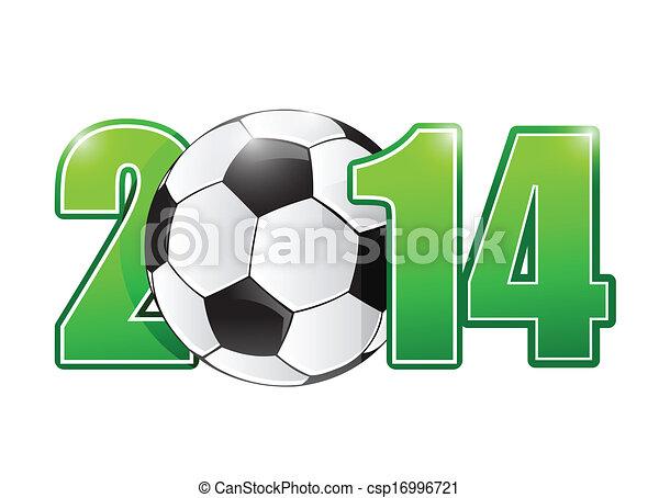 El fútbol de 2014 o la pelota de fútbol indican ilustración - csp16996721