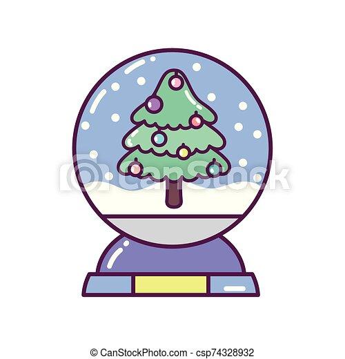 pelota, feliz navidad, árbol, icono, decoración, cristal, nieve - csp74328932