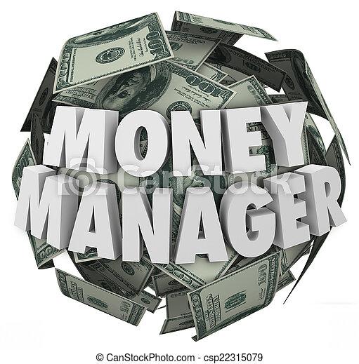 pelota, financiero, dinero, efectivo, director, palabras, consejero, 3d - csp22315079