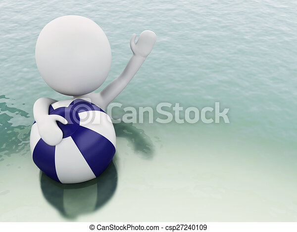 3D blancos con pelota de playa en el agua. - csp27240109