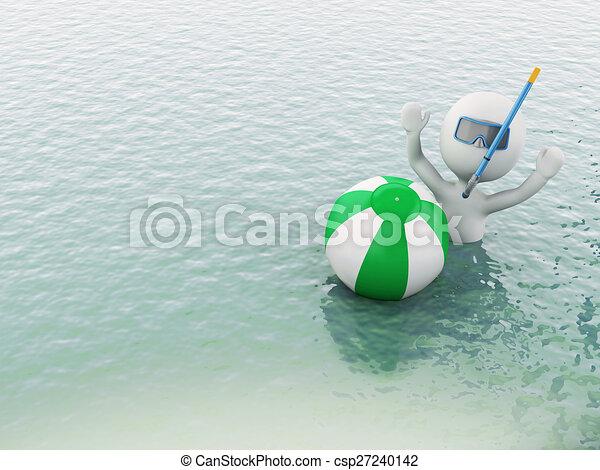 3D blancos con pelota de playa en el agua. - csp27240142