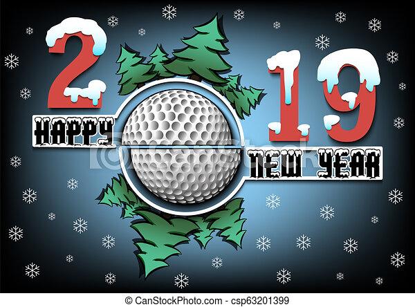 Feliz año nuevo 2019 y pelota de golf - csp63201399