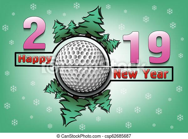 Feliz año nuevo 2019 y pelota de golf - csp62685687