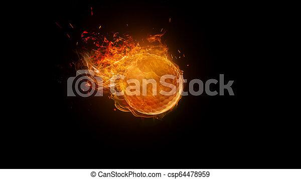 Bola de golf ardiendo, movimiento borroso - csp64478959