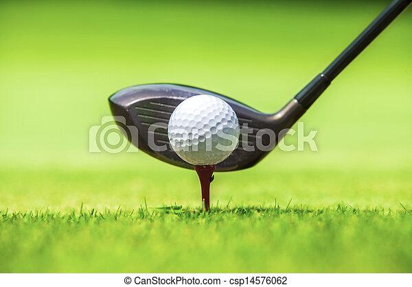 Bola de golf detrás del conductor - csp14576062