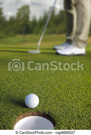 pelota, golf, foco, selectivo, golfista, poniendo - csp6666027