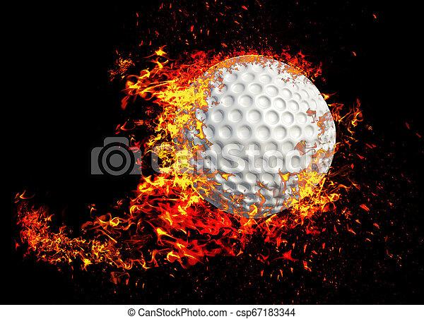 Una representación en 3D, una bola de golf en llamas aislada en el fondo negro - csp67183344