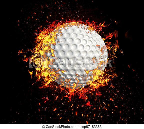 Una representación en 3D, una bola de golf en llamas aislada en el fondo negro - csp67183363
