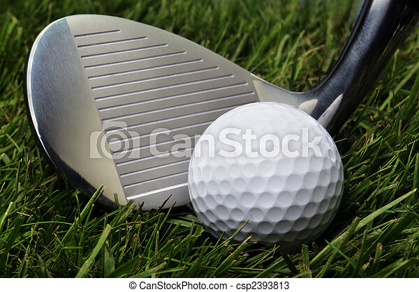 pelota, golf, pasto o césped - csp2393813