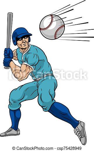 pelota, hogar, jugador, bate de béisbol, balanceo, corra - csp75428949