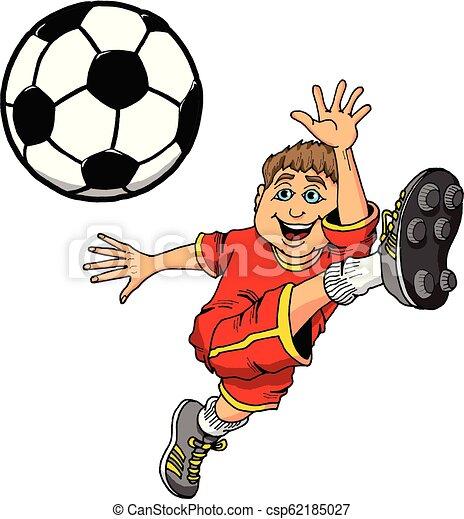 Una ilustración de dibujos animados de un niño pateando una pelota de fútbol - csp62185027