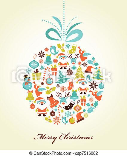 pelota, navidad, navidad, plano de fondo, retro - csp7516082