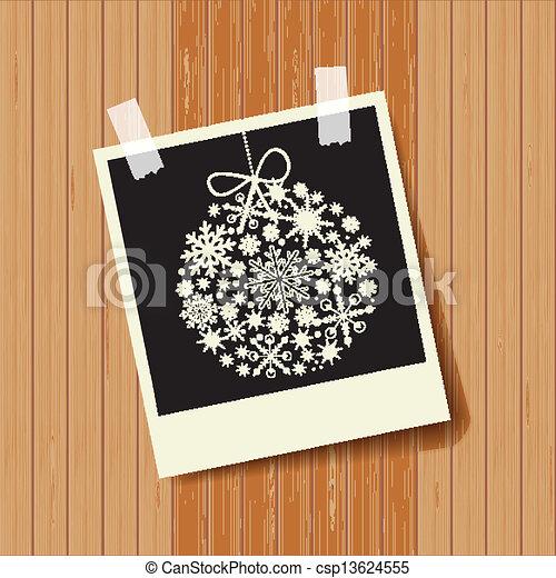 Tarjeta de Navidad con bola negra - csp13624555
