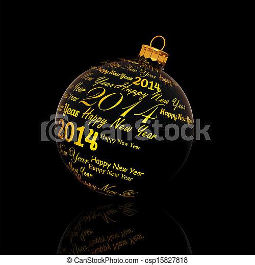 Feliz año nuevo 2014 escrito en el baile de Navidad sobre fondo negro - csp15827818