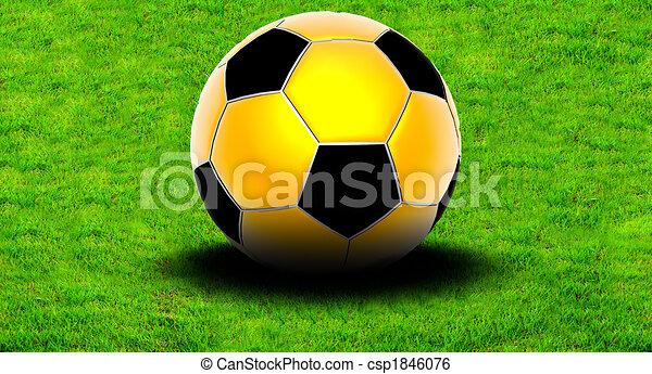 Bola de fútbol en la hierba - csp1846076