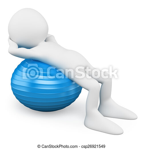 Blancos 3D. Un hombre haciendo ejercicio con una bola de aeróbicos - csp26921549