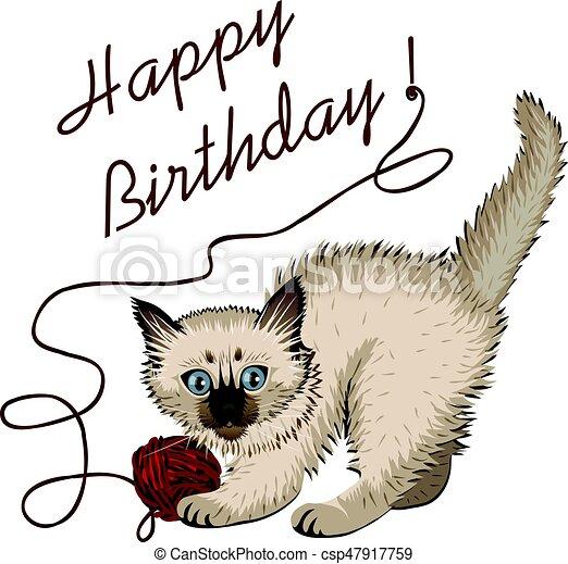 Gatito chapado con bola de lana y feliz cumpleaños - csp47917759