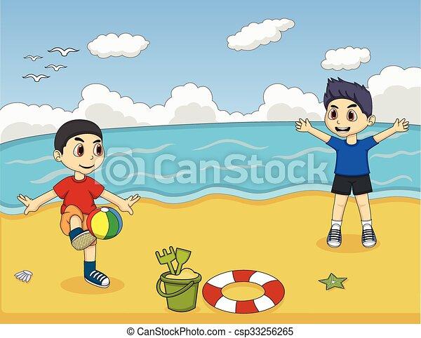 Niños jugando a la pelota en la playa - csp33256265